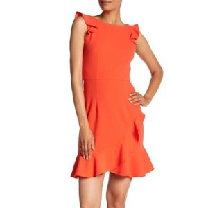 Donna Morgan Dress Ruffle Boat Neck Crepe
